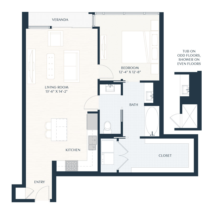 1 Beds 1 Baths 440 Sq Ft Plan 924 7: Luxury High Rise In Houston
